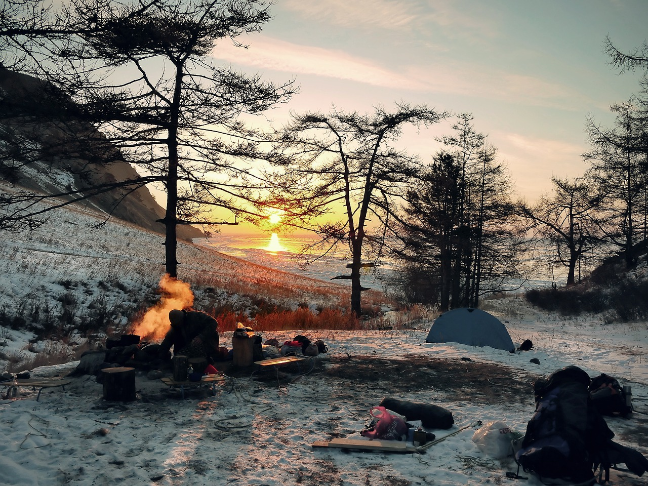 camping fire photo